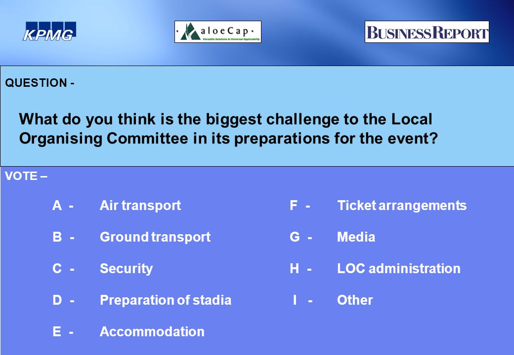 QUESTION - What do you think is the biggest challenge to the Local Organising Committee in its preparations for the event.