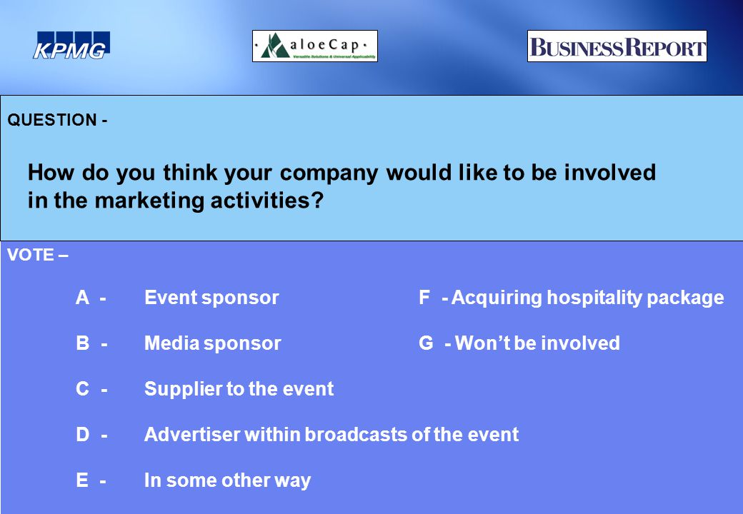 QUESTION - How do you think your company would like to be involved in the marketing activities.