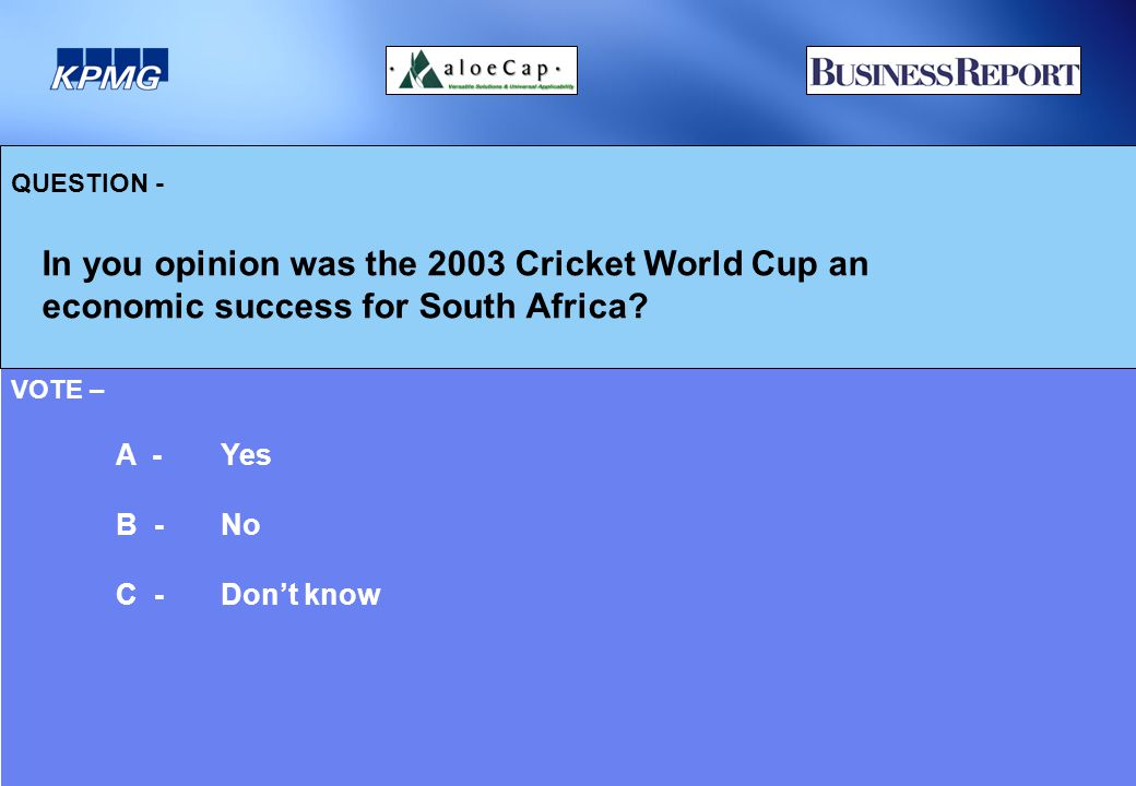 QUESTION - In you opinion was the 2003 Cricket World Cup an economic success for South Africa.