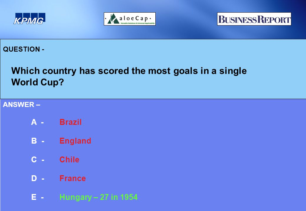 QUESTION - Which country has scored the most goals in a single World Cup.