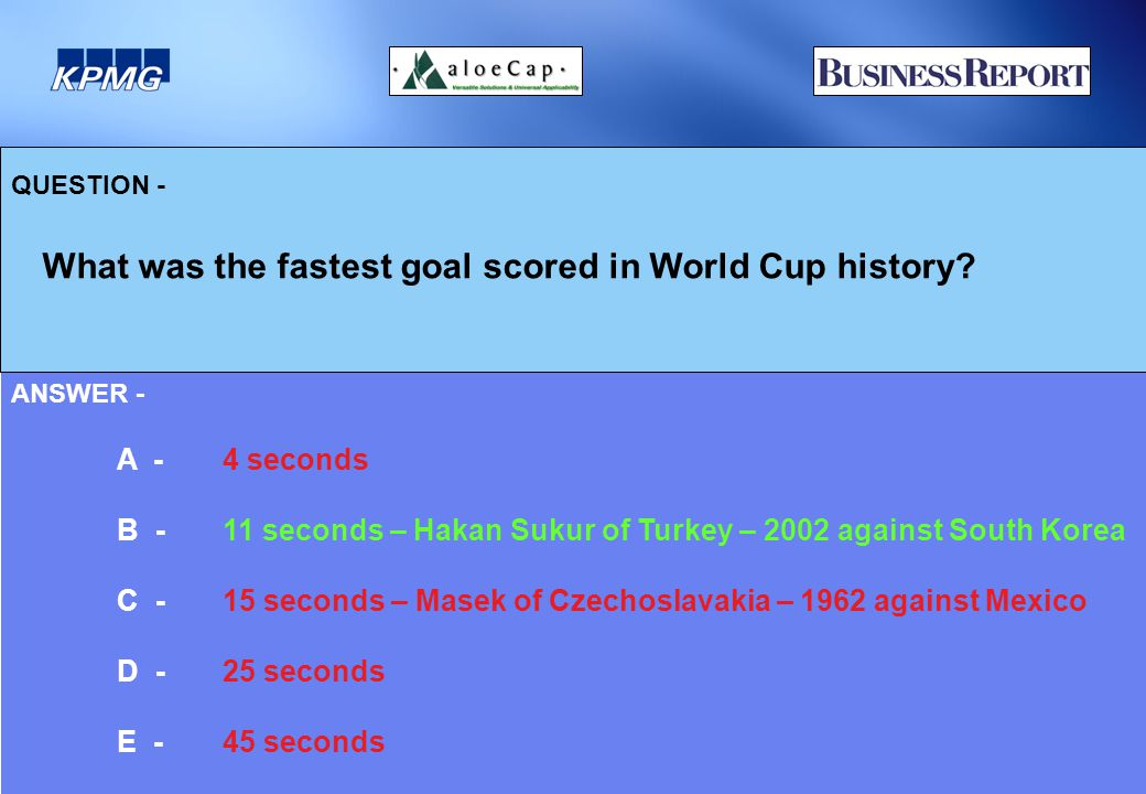 QUESTION - What was the fastest goal scored in World Cup history.