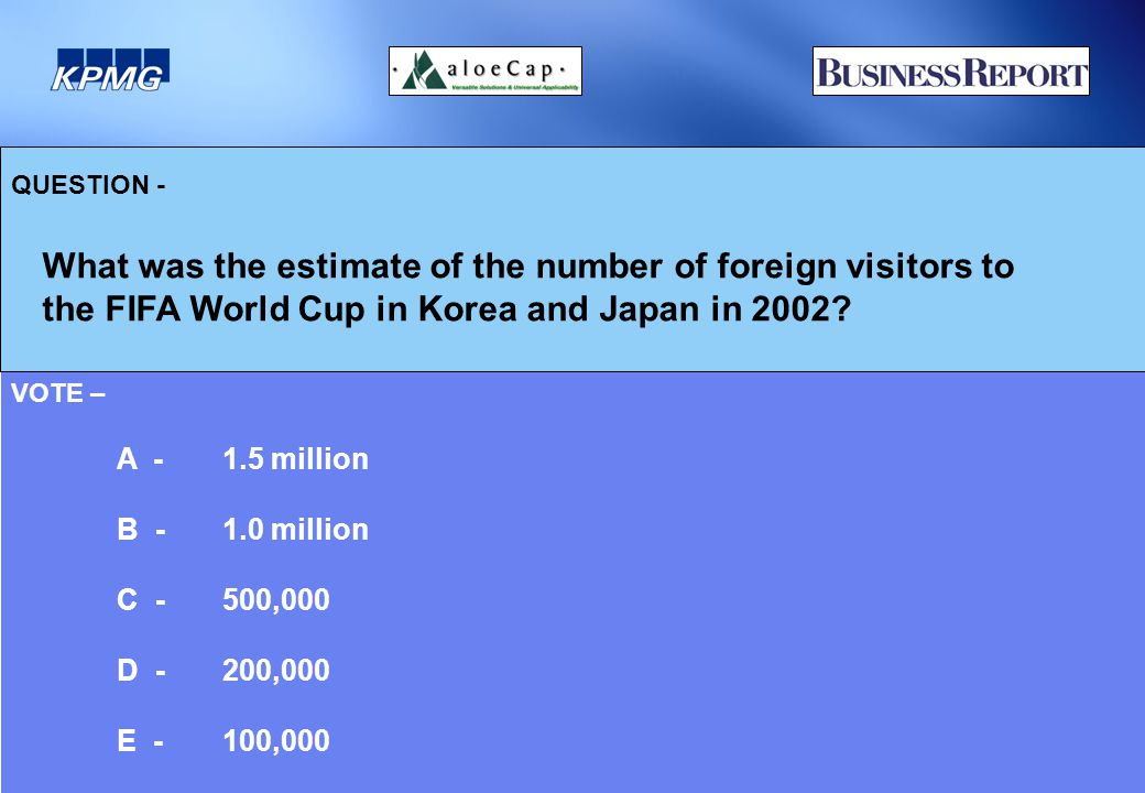 QUESTION - What was the estimate of the number of foreign visitors to the FIFA World Cup in Korea and Japan in 2002.