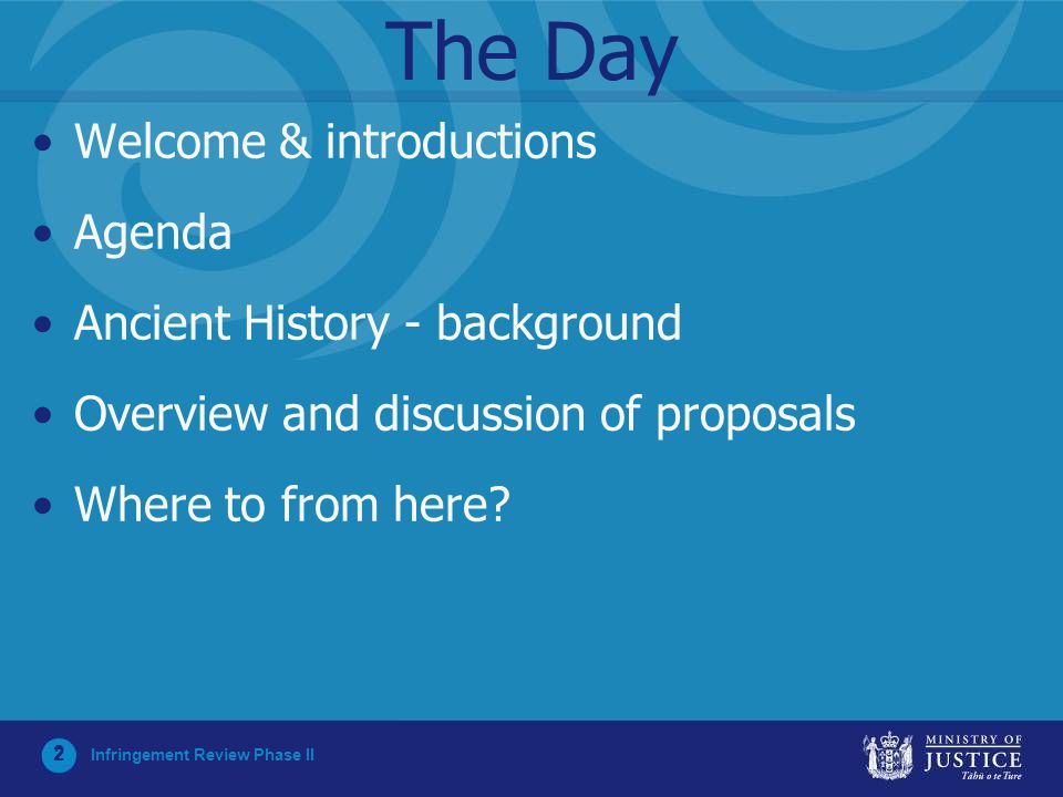 2 The Day Welcome & introductions Agenda Ancient History - background Overview and discussion of proposals Where to from here? Infringement Review Pha