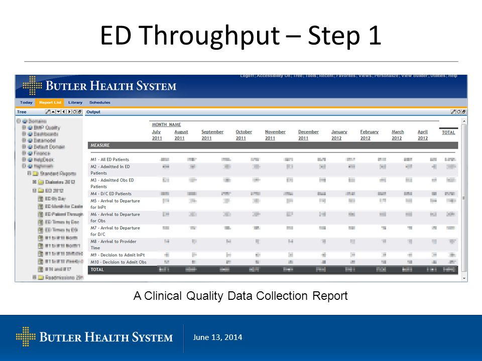 June 13, 2014 ED Throughput – Step 1 A Clinical Quality Data Collection Report