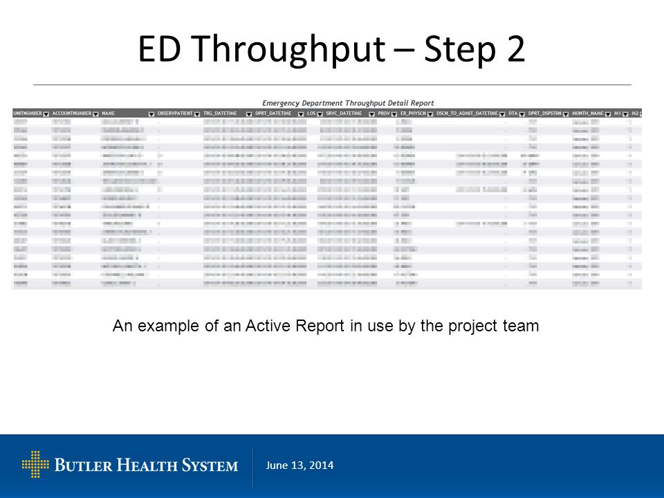 June 13, 2014 ED Throughput – Step 2 An example of an Active Report in use by the project team