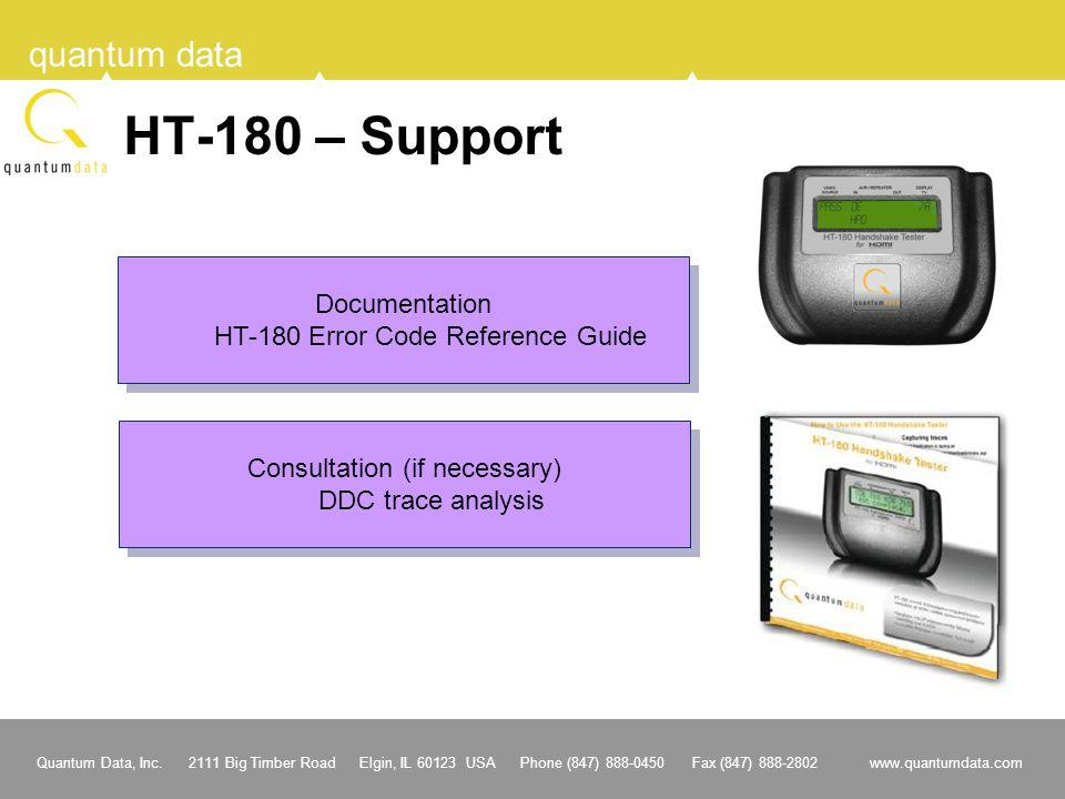 Quantum Data, Inc. 2111 Big Timber Road Elgin, IL 60123 USA Phone (847) 888-0450 Fax (847) 888-2802 www.quantumdata.com quantum data HT-180 – Support