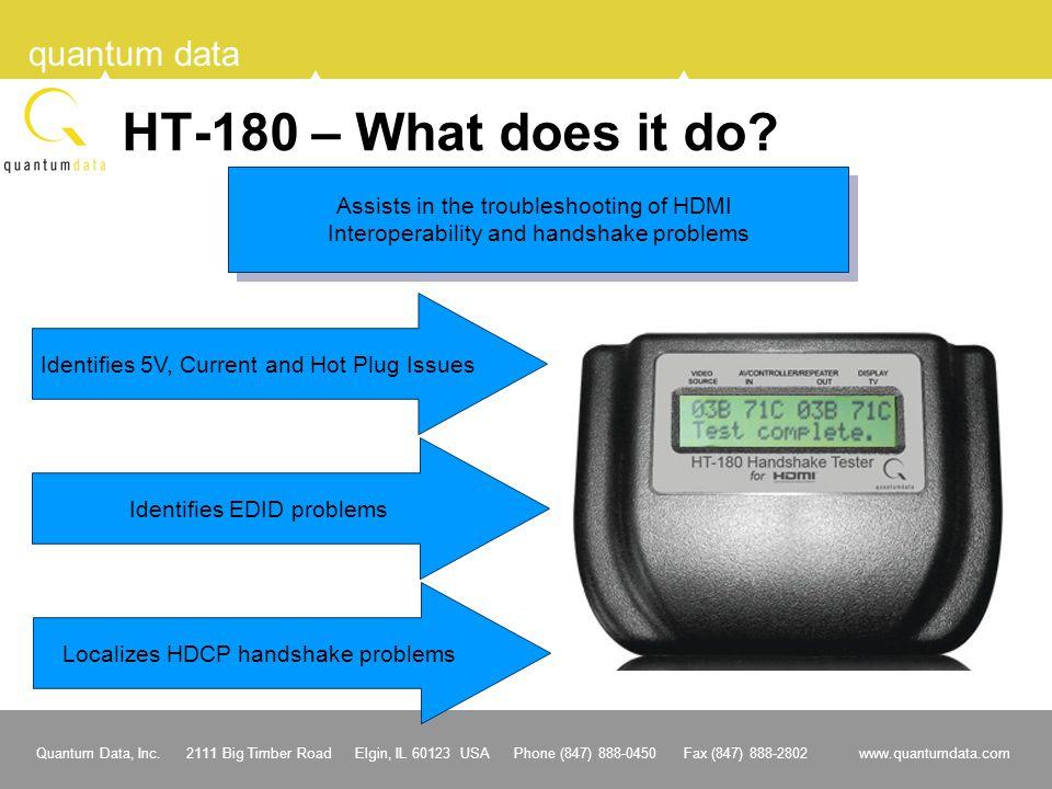 Quantum Data, Inc. 2111 Big Timber Road Elgin, IL 60123 USA Phone (847) 888-0450 Fax (847) 888-2802 www.quantumdata.com quantum data HT-180 – What doe