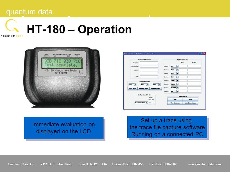 Quantum Data, Inc. 2111 Big Timber Road Elgin, IL 60123 USA Phone (847) 888-0450 Fax (847) 888-2802 www.quantumdata.com quantum data HT-180 – Operatio