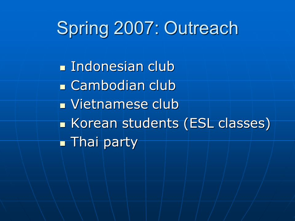 Outreach to them, by going to them. (their clubs, ESL classes, parties, etc.) Make it fun.