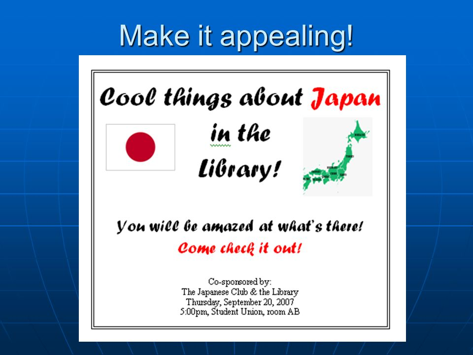 Even if you havent traveled… You can still make it fun & appealing! Title it, for example: Cool things about Japan in the Library or Cool things about
