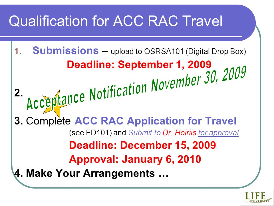 Qualification for ACC RAC Travel 1.