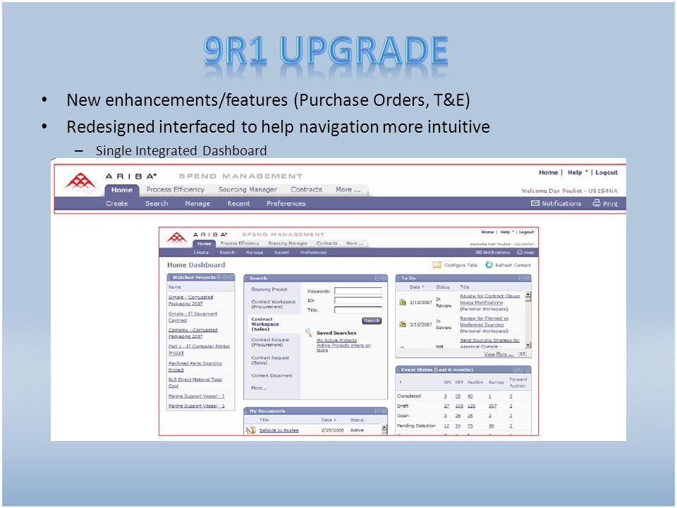 New enhancements/features (Purchase Orders, T&E) Redesigned interfaced to help navigation more intuitive – Single Integrated Dashboard