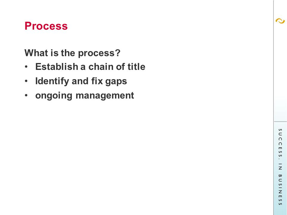 Process What is the process Establish a chain of title Identify and fix gaps ongoing management