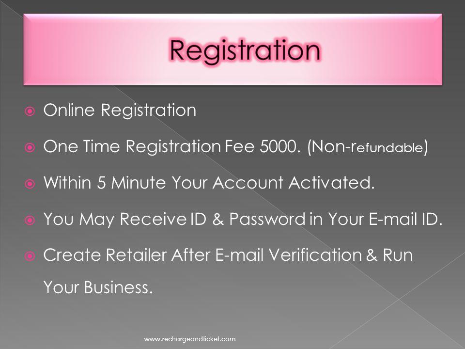 Online Registration One Time Registration Fee 5000.