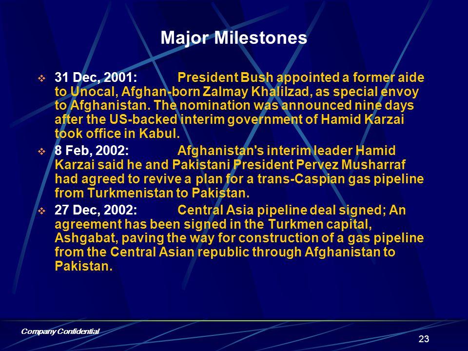 Company Confidential 22 Major Milestones Oct.