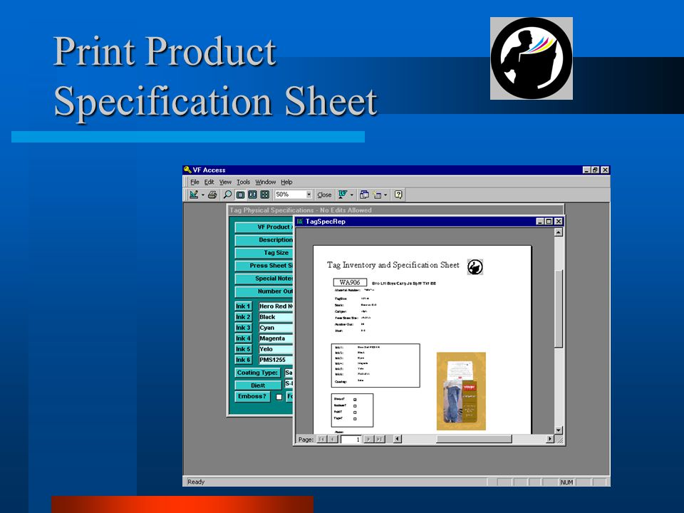 Print Product Specification Sheet