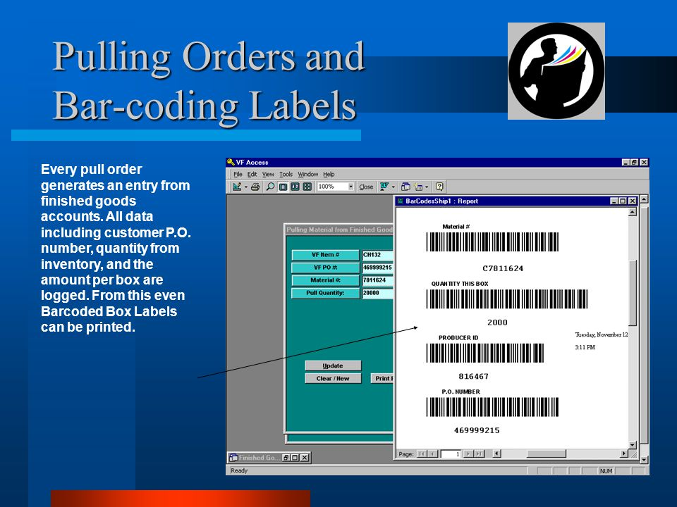 Pulling Orders and Bar-coding Labels Every pull order generates an entry from finished goods accounts.