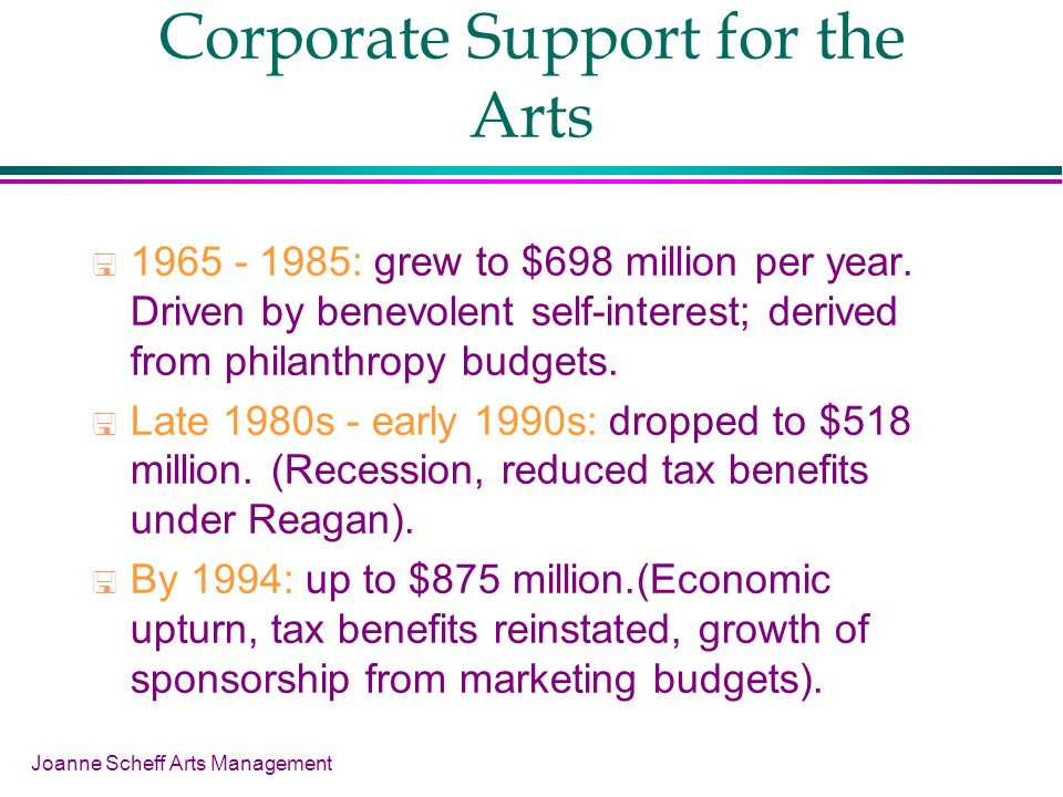 Joanne Scheff Arts Management Corporate Support for the Arts 1965 - 1985: grew to $698 million per year.