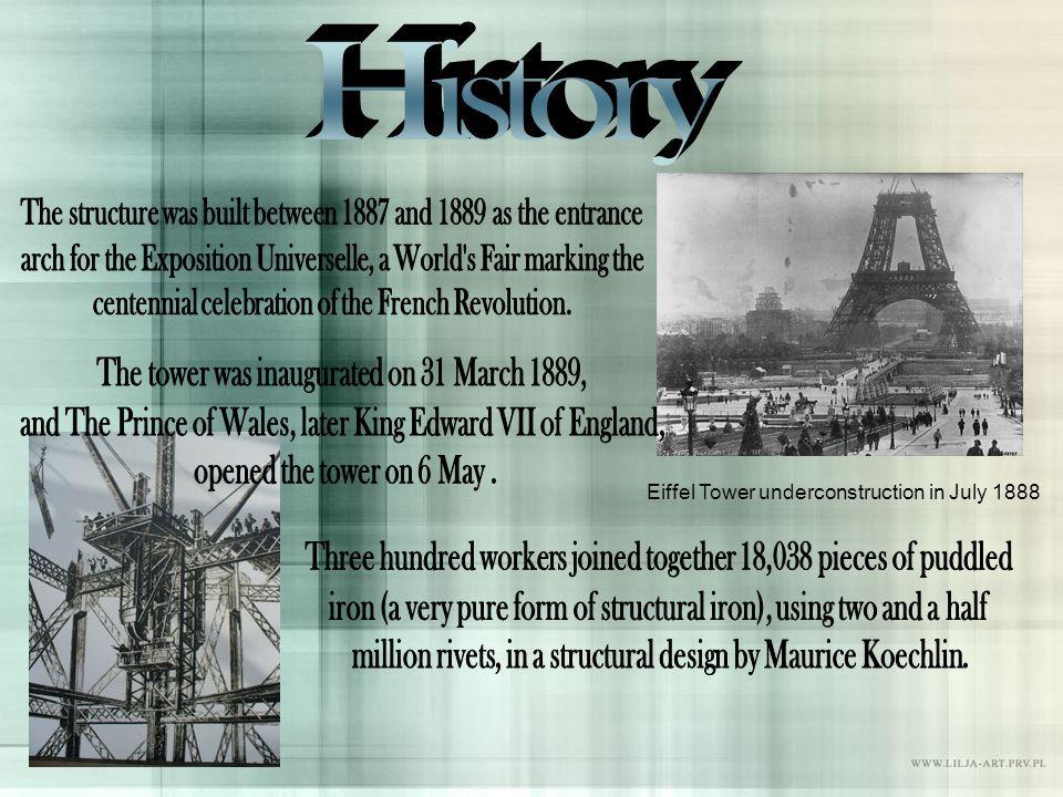 Eiffel Tower underconstruction in July 1888