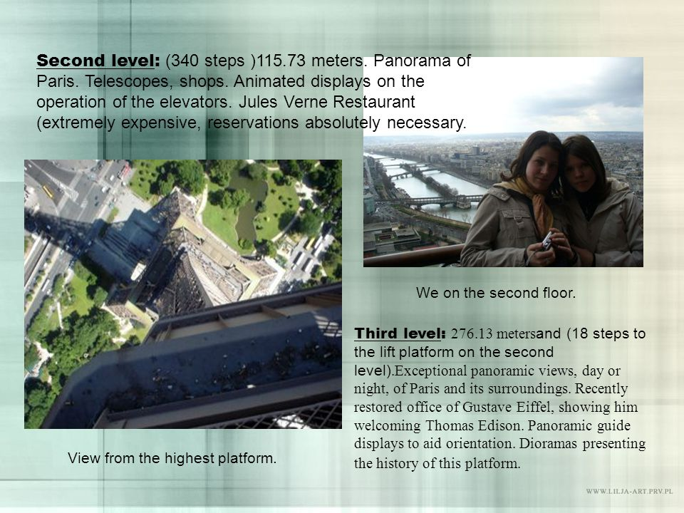 Second level: (340 steps ) meters. Panorama of Paris.