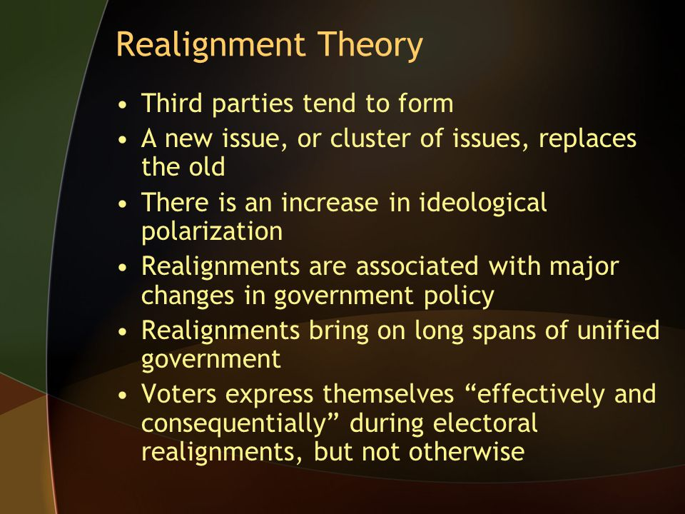 Realignment Theory Third parties tend to form A new issue, or cluster of issues, replaces the old There is an increase in ideological polarization Rea