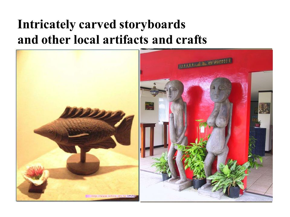 D42 Intricately carved storyboards and other local artifacts and crafts