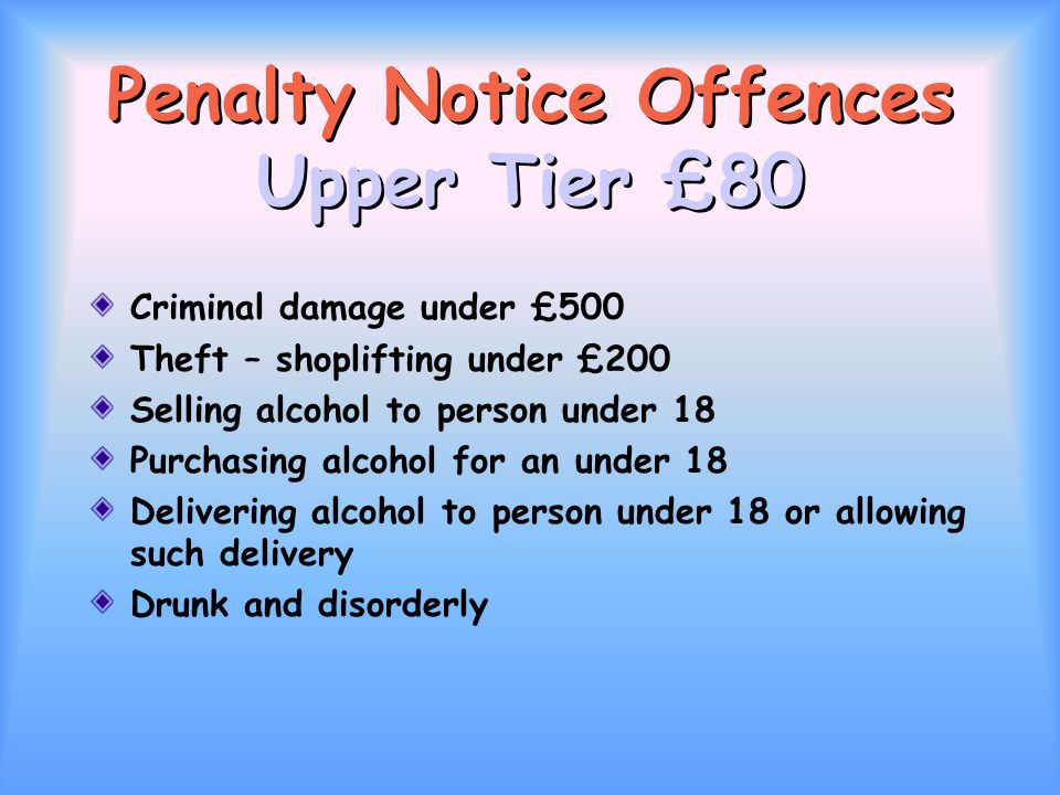Penalty Notice Offences Upper Tier £80 Criminal damage under £500 Theft – shoplifting under £200 Selling alcohol to person under 18 Purchasing alcohol for an under 18 Delivering alcohol to person under 18 or allowing such delivery Drunk and disorderly