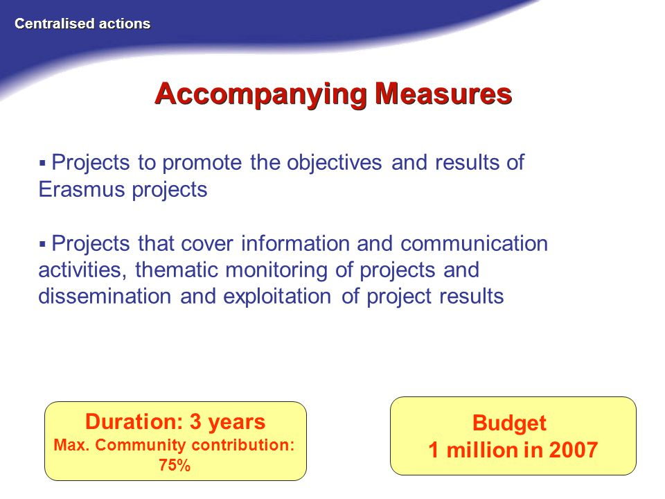 Accompanying Measures Centralised actions Budget 1 million in 2007 Projects to promote the objectives and results of Erasmus projects Projects that cover information and communication activities, thematic monitoring of projects and dissemination and exploitation of project results Duration: 3 years Max.