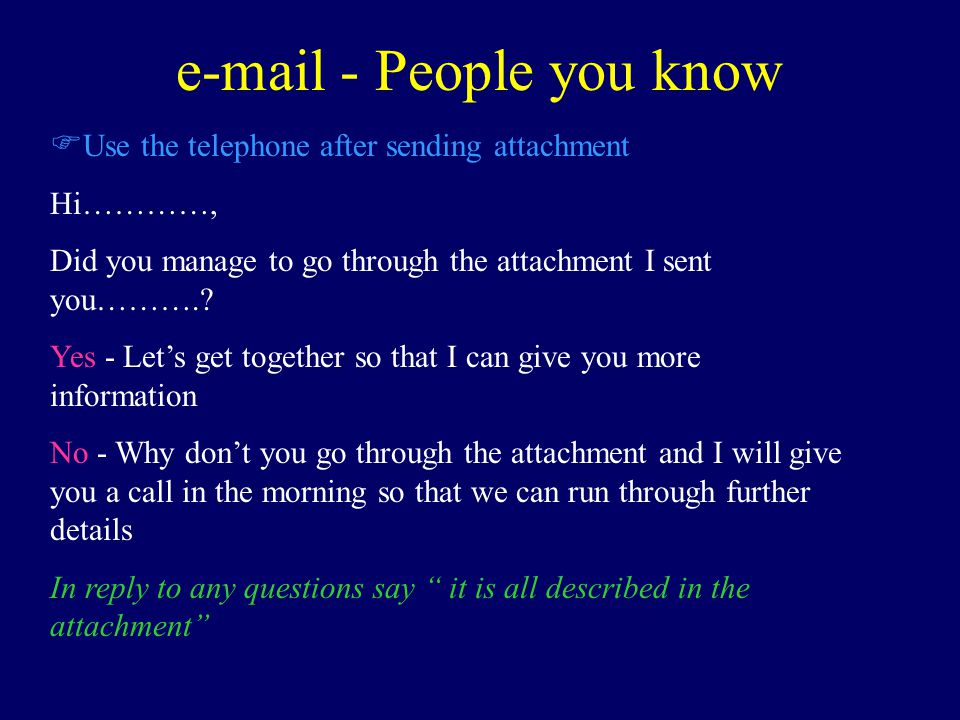 e-mail - People you know F Use the telephone after sending attachment Hi…………, Did you manage to go through the attachment I sent you………..