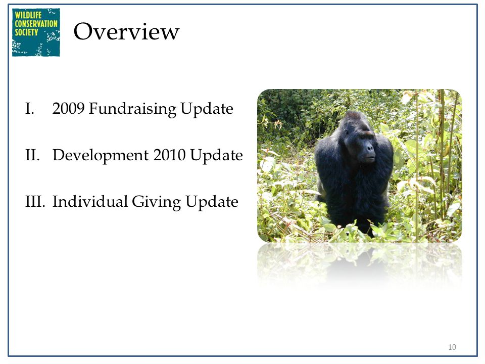 Overview I.2009 Fundraising Update II.Development 2010 Update III.Individual Giving Update 10