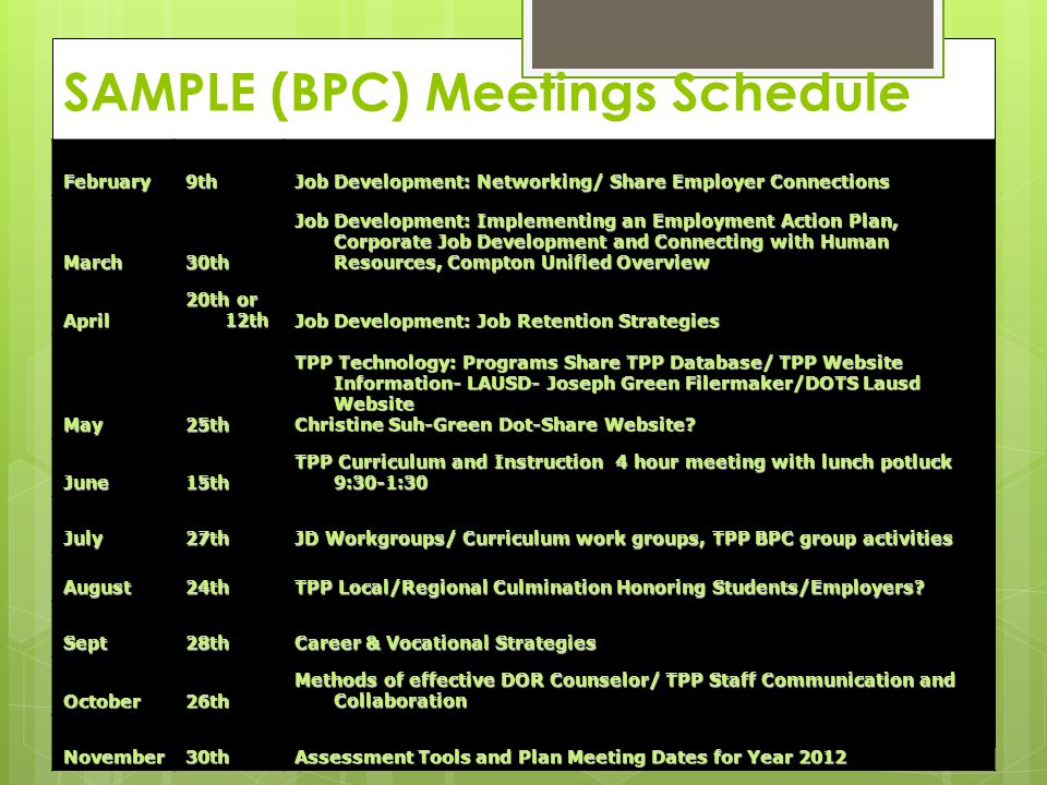 SAMPLE (BPC) Meetings Schedule February9th Job Development: Networking/ Share Employer Connections March30th Job Development: Implementing an Employme