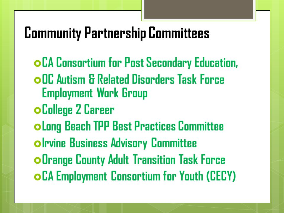 Business Advisory Committee Description The BAC was established to promote a partnership between local businesses/employers and employment & training programs.