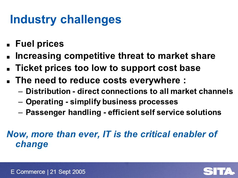 E Commerce | 21 Sept 2005 Industry challenges Fuel prices Increasing competitive threat to market share Ticket prices too low to support cost base The