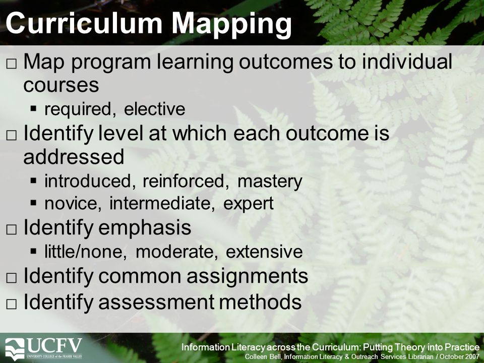 Information Literacy across the Curriculum: Putting Theory into Practice Colleen Bell, Information Literacy & Outreach Services Librarian / October 2007 Curriculum Mapping Map program learning outcomes to individual courses required, elective Identify level at which each outcome is addressed introduced, reinforced, mastery novice, intermediate, expert Identify emphasis little/none, moderate, extensive Identify common assignments Identify assessment methods