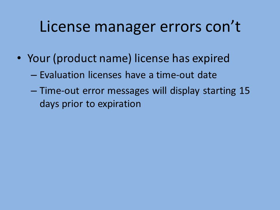 Troubleshooting hardware key errors Verify the key is installed Verify the ArcGIS license manager software is installed Verify the ArcGIS license manager service is Started (Start -> Control Panel -> Administrative Tools -> Services -> ArcGIS license manager service) Verify the license manager is set in the Desktop Administrator or using the ArcGIS license manager environment variable (@localhost)