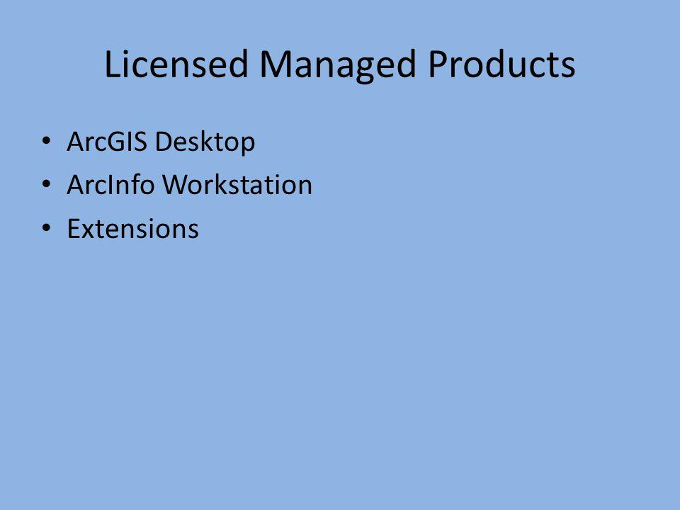 Licensed Managed Products ArcGIS Desktop ArcInfo Workstation Extensions