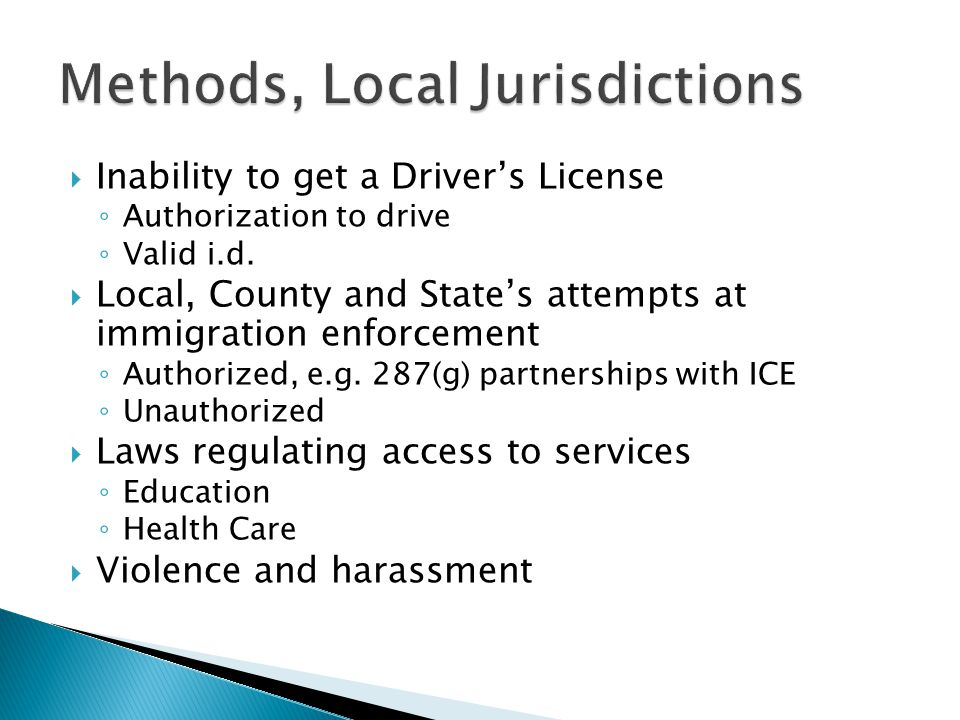 Section 287(g) of the Immigration and Nationality Act (cont) Allows local & state officers: necessary resources and latitude to pursue investigations relating to violent crimes, human smuggling, gang/organized crime activity, sexual- related offenses, narcotics smuggling and money laundering; and increased resources and support in more remote geographical locations.