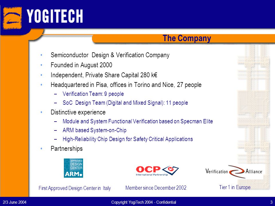 2/3 June 2004Copyright YogiTech 2004 - Confidential3 The Company Semiconductor Design & Verification Company Founded in August 2000 Independent, Private Share Capital 280 k Headquartered in Pisa, offices in Torino and Nice, 27 people –Verification Team: 9 people –SoC Design Team (Digital and Mixed Signal): 11 people Distinctive experience –Module and System Functional Verification based on Specman Elite –ARM based System-on-Chip –High-Reliability Chip Design for Safety Critical Applications Partnerships First Approved Design Center in Italy Member since December 2002 Tier 1 in Europe