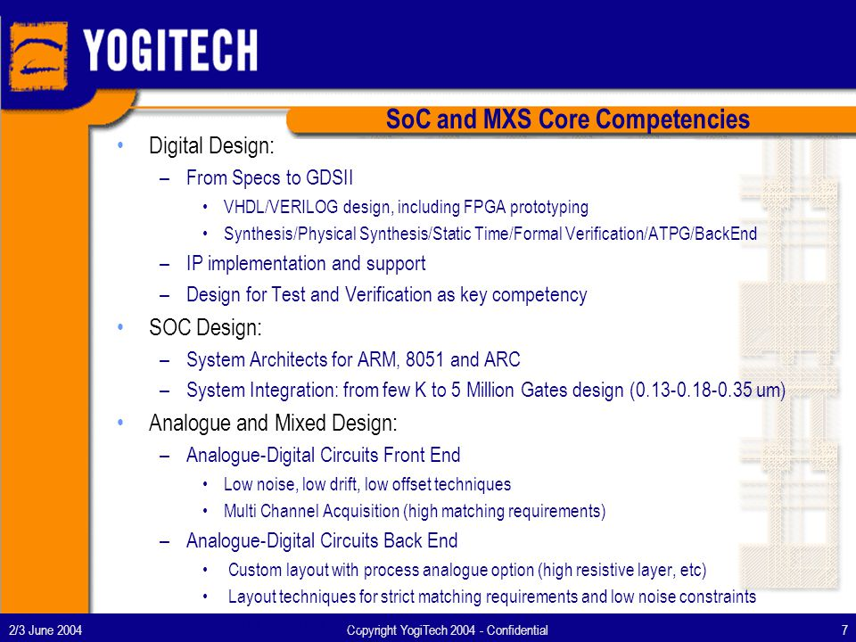 2/3 June 2004Copyright YogiTech 2004 - Confidential8 YogiTech in OCP-IP Joined OCP-IP in December 2002 –with the mission to simplify the implementation of OCP based systems by means of innovative verification and reuse methodologies Joined OCP-IP FVWG in March 2003 –with the mission to proactively collaborate in the definition of a comprehensive OCP compliance plan to enhance the existing self-certification program First Release of OCP 2.0 e Verification Component in April 2003 –Texas Instruments has been a leading customer for the OCP e VC and currently has successfully adopted this verification tool in several key designs