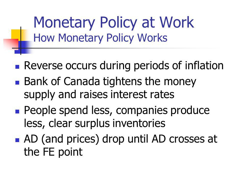 Monetary Policy at Work How Monetary Policy Works Reverse occurs during periods of inflation Bank of Canada tightens the money supply and raises interest rates People spend less, companies produce less, clear surplus inventories AD (and prices) drop until AD crosses at the FE point