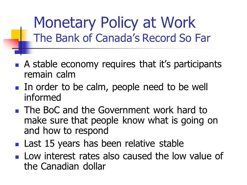 Monetary Policy at Work The Bank of Canadas Record So Far A stable economy requires that its participants remain calm In order to be calm, people need