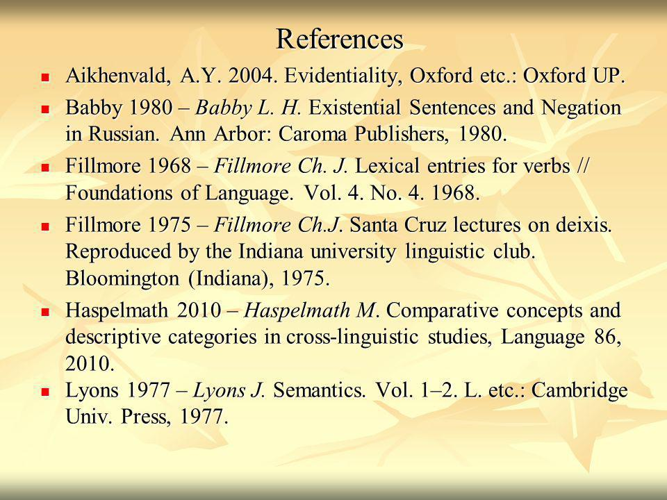 References Aikhenvald, A.Y. 2004. Evidentiality, Oxford etc.: Oxford UP.
