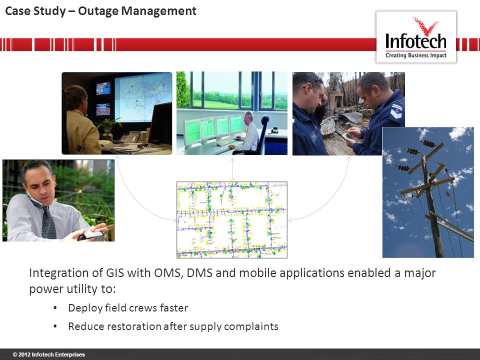 © 2012 Infotech Enterprises Case Study – Outage Management Integration of GIS with OMS, DMS and mobile applications enabled a major power utility to: Deploy field crews faster Reduce restoration after supply complaints