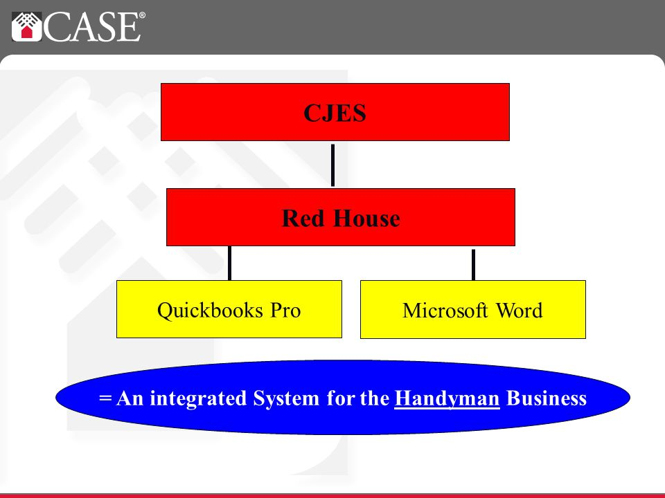 Quickbooks Pro Microsoft Word CJES Red House = An integrated System for the Handyman Business