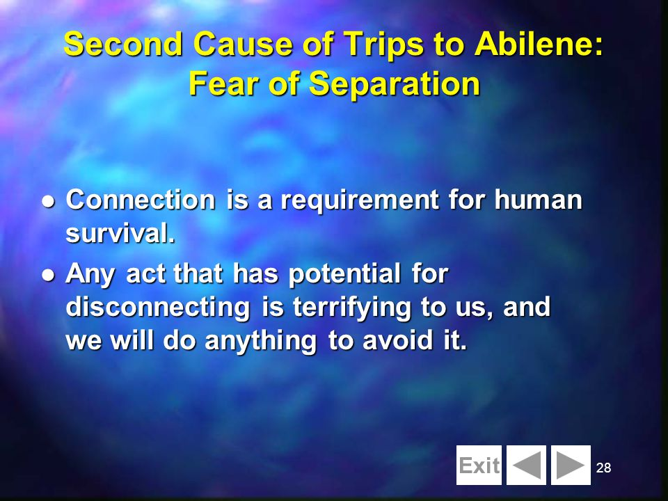 28 Second Cause of Trips to Abilene: Fear of Separation l Connection is a requirement for human survival. l Any act that has potential for disconnecti