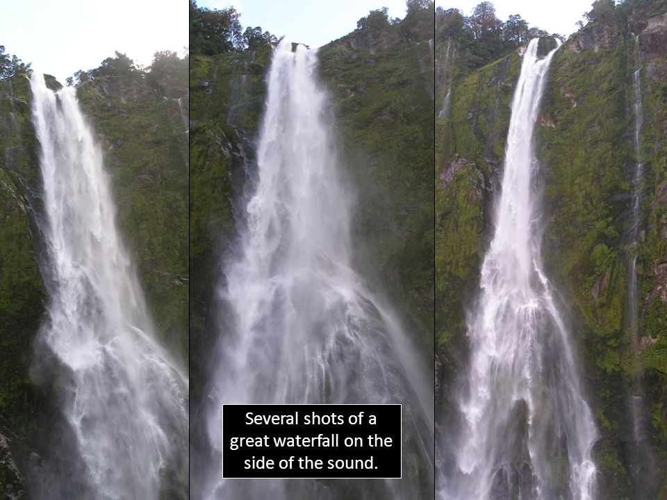 Several shots of a great waterfall on the side of the sound.
