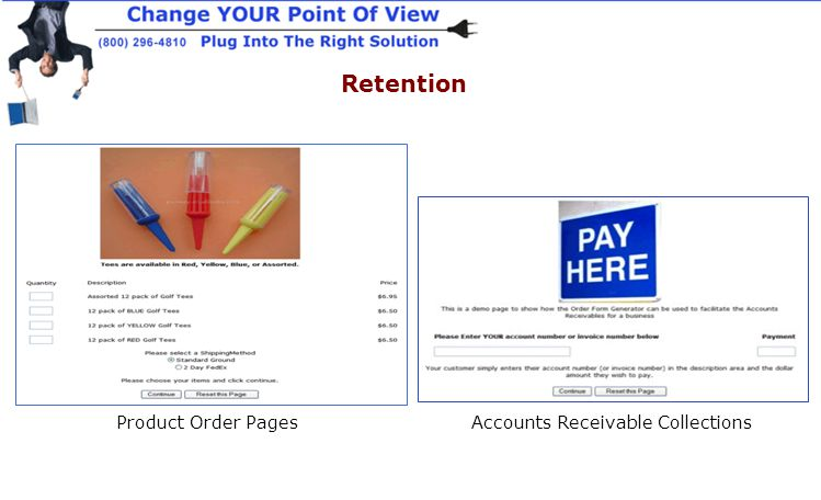 Retention Product Order PagesAccounts Receivable Collections