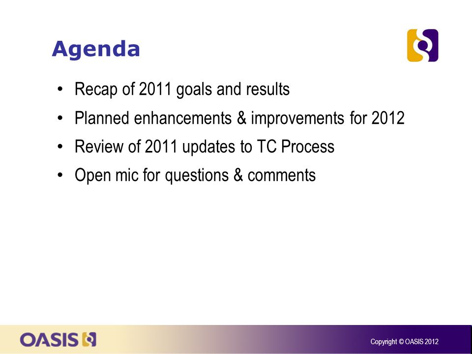 Agenda Recap of 2011 goals and results Planned enhancements & improvements for 2012 Review of 2011 updates to TC Process Open mic for questions & comm