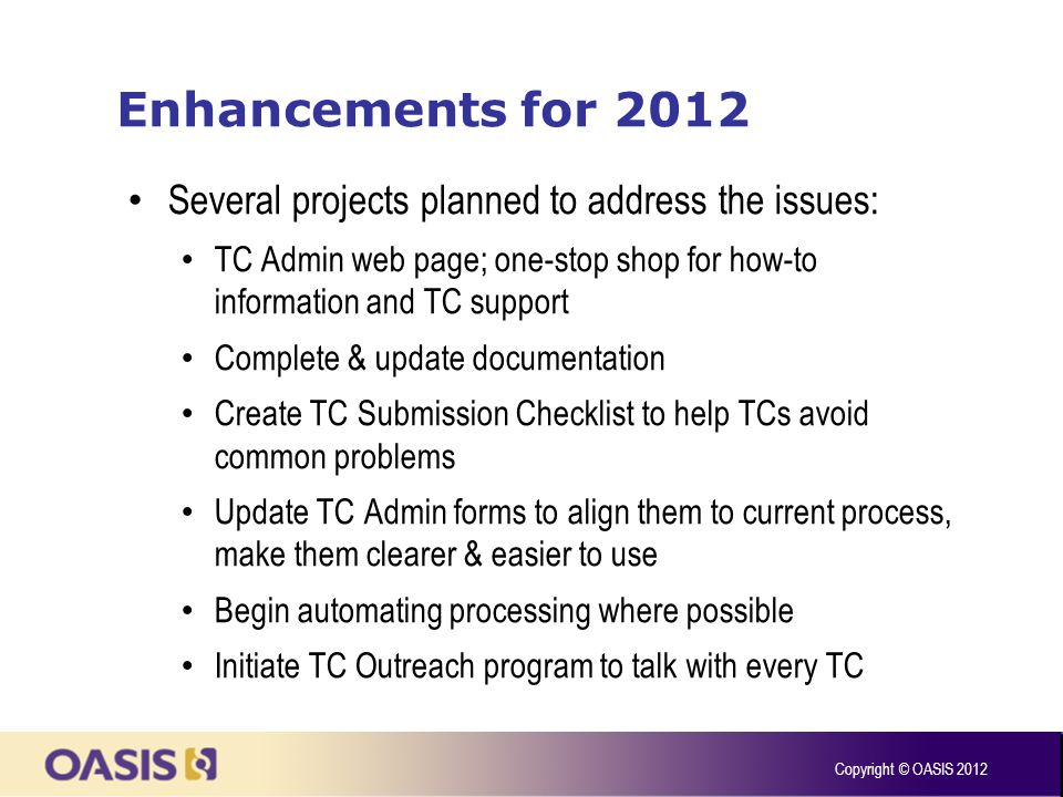 Enhancements for 2012 Several projects planned to address the issues: TC Admin web page; one-stop shop for how-to information and TC support Complete & update documentation Create TC Submission Checklist to help TCs avoid common problems Update TC Admin forms to align them to current process, make them clearer & easier to use Begin automating processing where possible Initiate TC Outreach program to talk with every TC Copyright © OASIS 2012