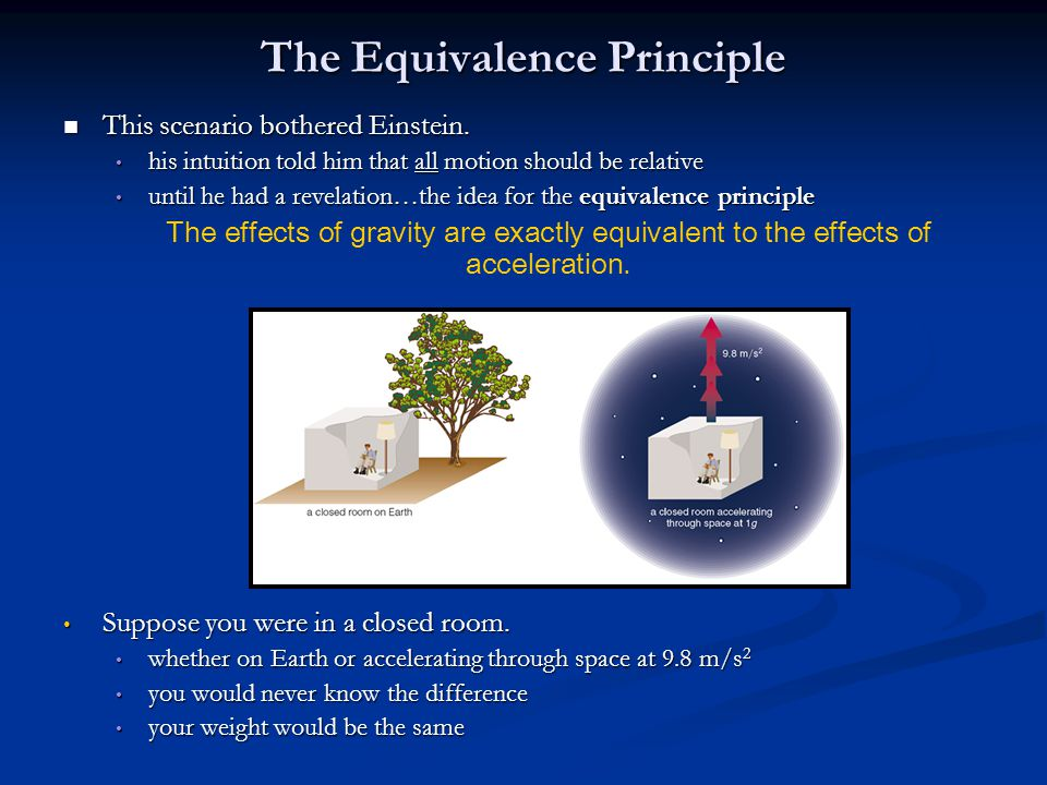 The Equivalence Principle This scenario bothered Einstein. This scenario bothered Einstein. his intuition told him that all motion should be relative